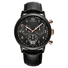 Buy 88 Rue Du Rhone 87WA130023 Double 8 Origin Men's Chronograph Leather Strap Watch, Black Online at johnlewis.com