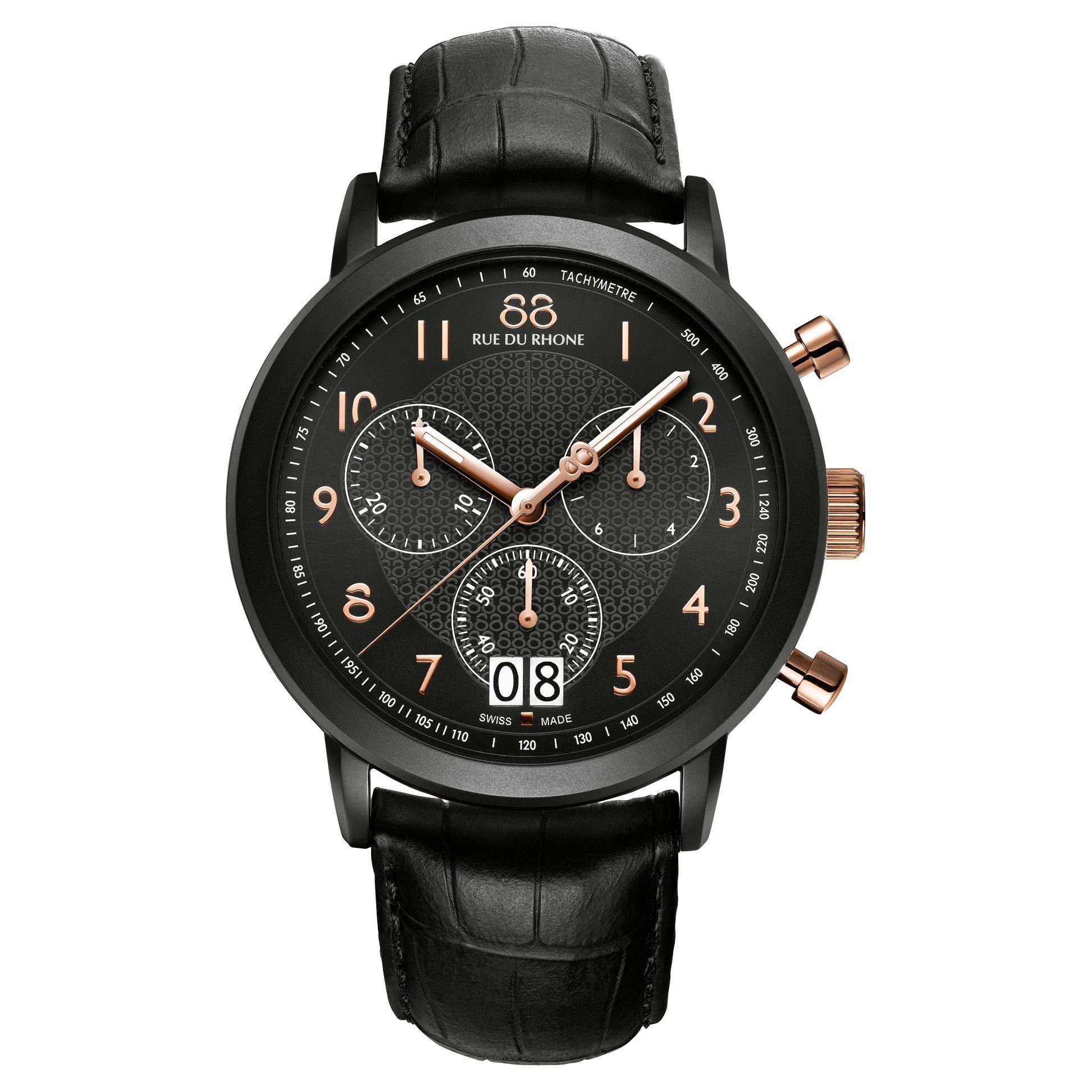 88 Rue Du Rhone 88 Rue Du Rhone 87WA130023 Double 8 Origin Men's Chronograph Leather Strap Watch, Black
