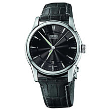 Buy Oris 73376704054LS Men's Atelier Automatic Leather Strap Watch, Black Online at johnlewis.com
