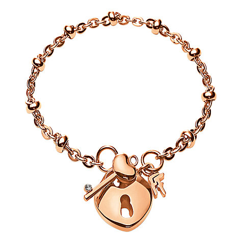 Buy Folli Follie Key and Heart Padlock Charm Bracelet, Rose Gold Online at johnlewis.com