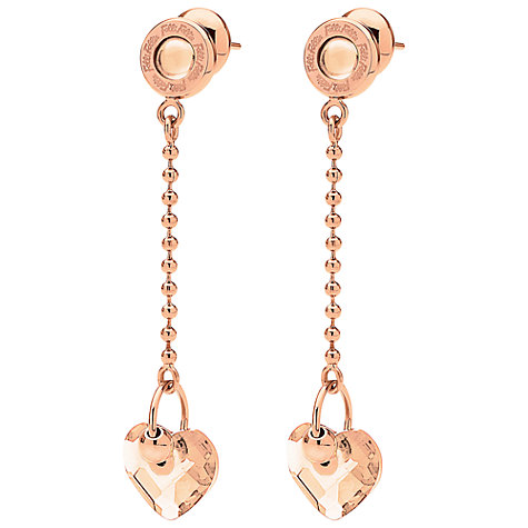 Buy Folli Follie Heart4Heart Crystal Heart Chain Drop Earrings, Rose Gold Online at johnlewis.com