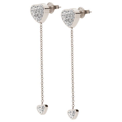 Buy Folli Follie Heart4Heart Heart Chain Drop Earrings, Silver Online at johnlewis.com