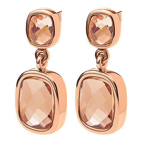Buy Folli Follie Elements Rose Gold Double Crystal Drop Earrings Online at johnlewis.com