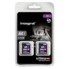 Buy Integral Ultimapro 32GB, Class 10 UHS-I SDHC Memory Card, up to 45MB/s, Twin Pack Online at johnlewis.com