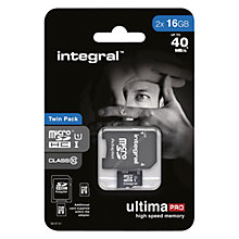 Buy Integral 16GB, Class 10 UHS-I microSDHC Memory Card, up to 40MB/s, Twin Pack Online at johnlewis.com
