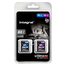 Buy Integral Ultimapro 16GB and 32GB, Class 10 UHS-I SDHC Memory Card, up to 45MB/s, Twin Pack Online at johnlewis.com