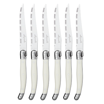 Laguiole by Jean Dubost Ivory Steak Knives In Wood Block, 6 Piece