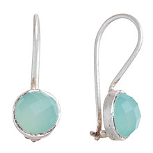 Buy Pomegranate Sterling Silver Chalcedony Small Drop Earrings, Aqua Online at johnlewis.com