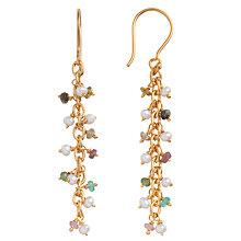 Buy Pomegranate 18ct Gold Vermeil Pearl and Tourmaline Chain Drop Earrings Online at johnlewis.com