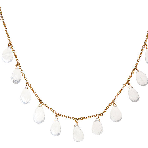 Buy Pomegranate 18ct Gold Vermeil Crystal Briolette Drop Necklace, Gold Online at johnlewis.com