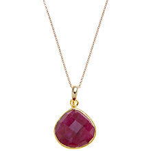 Buy Pomegranate Gold Vermeil Pear Drop Pendant, Ruby Online at johnlewis.com