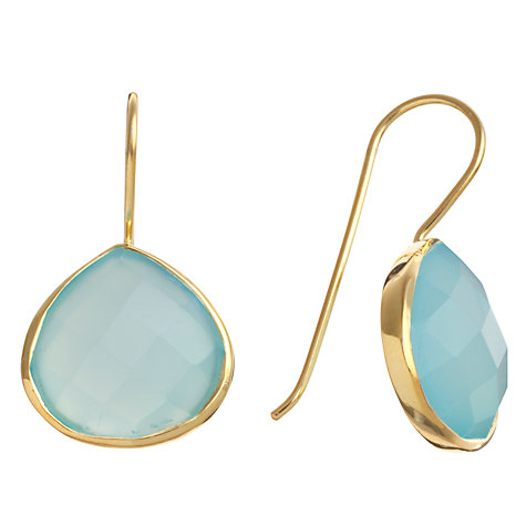 Buy Pomegranate 18ct Gold Vermeil Chalcedony Teardrop Earrings, Aqua Online at johnlewis.com