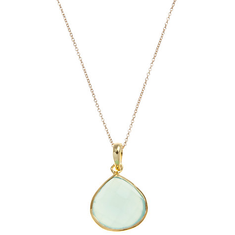 Buy Pomegranate 18ct Gold Vermeil Teardrop Chalcedony Pendant, Aqua Online at johnlewis.com