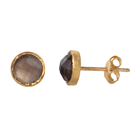 Buy Pomegranate 18ct Gold Vermeil Smoky Quartz Stud Earrings Online at johnlewis.com