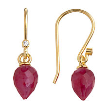 Buy Pomegranate 18ct Gold Vermeil Pointed Ruby Drop Hook Earrings Online at johnlewis.com