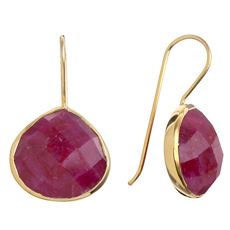 Buy Pomegranate 18ct Gold Vermeil Pear Drop Ruby Earrings Online at johnlewis.com