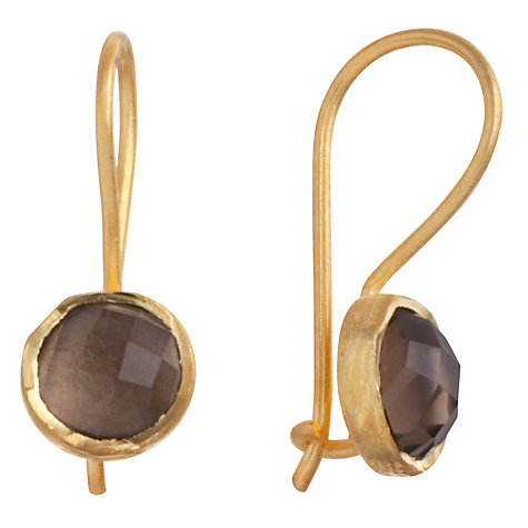 Buy Pomegranate 18ct Gold Vermeil Cupcake Smoky Quartz Drop Earrings, Brown Online at johnlewis.com