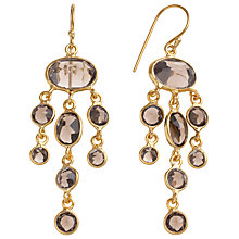 Buy Pomegranate 18ct Gold Vermeil Jellyfish Drop Earrings, Smoky Quartz Online at johnlewis.com