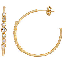 Buy Pomegranate 18ct Gold Vermeil Matte Hoop Crystal Earrings Online at johnlewis.com