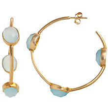 Buy Pomegranate 18ct Gold Vermeil Chalcedony Hoop Earrings, Aqua Online at johnlewis.com
