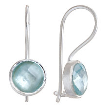 Buy Pomegranate Sterling Silver Topaz Small Drop Earrings, Aqua Online at johnlewis.com