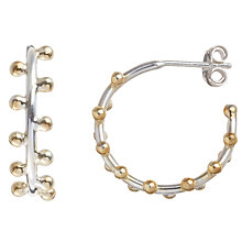 Buy Pomegranate Sterling Silver 18ct Gold Bobble Hoop Earrings, Silver / Gold Online at johnlewis.com