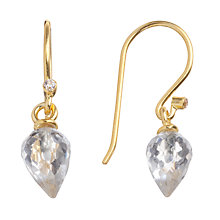 Buy Pomegranate 18ct Gold Vermeil Pointed Crystal Drop Hook Earrings Online at johnlewis.com