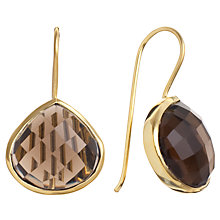 Buy Pomegranate 18ct Gold Vermeil Smoky Quartz Teardrop Earrings, Brown Online at johnlewis.com