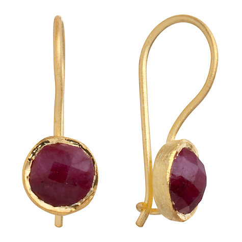 Buy Pomegranate 18ct Gold Vermeil Cupcake Ruby Drop Earrings, Red Online at johnlewis.com