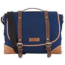 Buy Ted Baker Dr Evil Canvas and Leather Messenger Bag, Navy Online at johnlewis.com