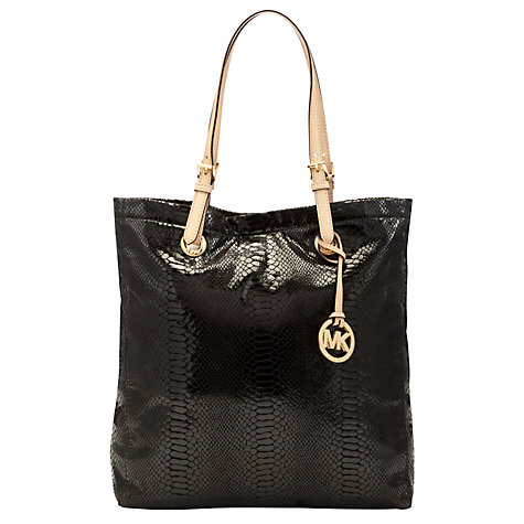 Buy MICHAEL Michael Kors Jet Set Snake Print Tote Handbag, Black Online at johnlewis.com