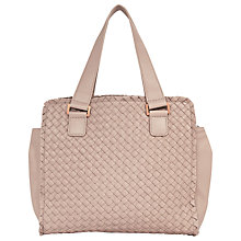 Buy Reiss Weave Fringed Tote Bag, Blush Online at johnlewis.com