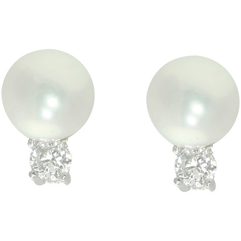 Buy Lido Sterling Silver Pearl and Round Cubic Zirconia Stud Earrings, White Online at johnlewis.com
