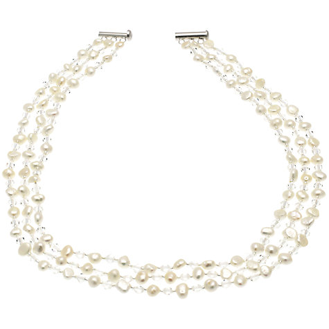 Buy Lido Pearls Triple Row Crystal and Freshwater Pearl Necklace, White Online at johnlewis.com