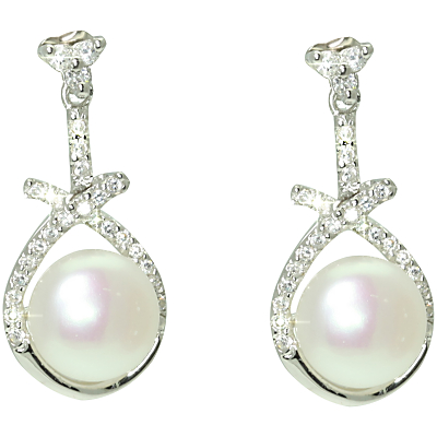 Lido Pearls Cubic Zirconia Triangle Earrings, Silver/White