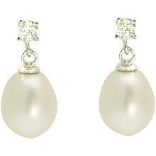 Buy Lido Sterling Silver Pearl and Small Cubic Zirconia Drop Earrings, White Online at johnlewis.com