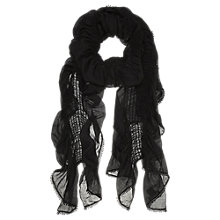 Buy Mint Velvet Ruched Lace Trim Scarf, Black Online at johnlewis.com