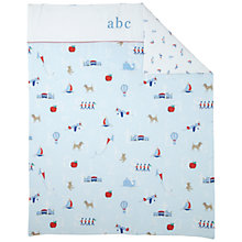 Buy John Lewis Alphabet Cot/Cotbed Quilt, Blue Online at johnlewis.com