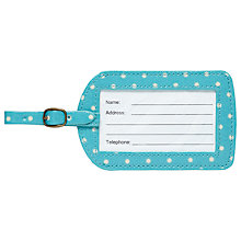 Buy Cath Kidston Mini Dot Luggage Tag, Turquoise Online at johnlewis.com