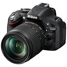 "Buy Nikon D5200 Digital SLR Camera with 18-105mm & 35mm Lens, HD 1080p, 24.1MP, 3"" Screen with SLR Bag Online at johnlewis.com"