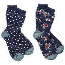 Buy Fat Face Floral Spot Ankle Socks, Pack of 2 Online at johnlewis.com
