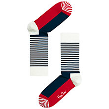 Buy Happy Socks Striped Socks, Navy/Red Online at johnlewis.com
