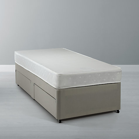 Buy John Lewis Water Resistant Open Mattress & John Lewis Non Sprung Divan Base, White, Single Online at johnlewis.com