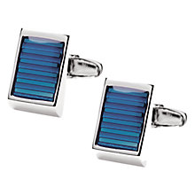 Buy Denison Boston Targa Stripe Cufflinks, Blue Online at johnlewis.com