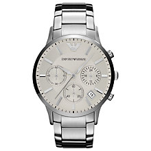 Buy Emporio Armani AR2458 Men's Renato Chronograph Steel Watch, Silver Online at johnlewis.com