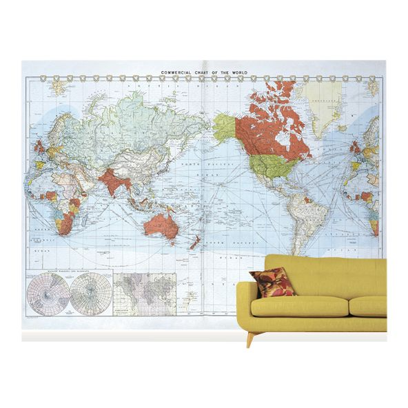 Surface View Surface View Commercial Chart of the World Wall Mural, 360 x 265cm