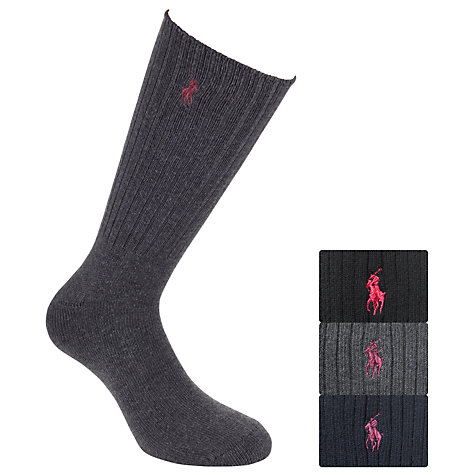 Buy Polo Ralph Lauren Socks, Pack of 3, Navy/Black/Grey Online at johnlewis.com