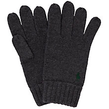 Buy Polo Ralph Lauren Merino Wool Gloves, Charcoal Online at johnlewis.com
