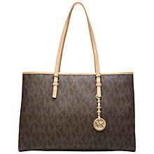 Buy MICHAEL Michael Kors Jet Set Travel Luggage Logo Tote, Brown Online at johnlewis.com