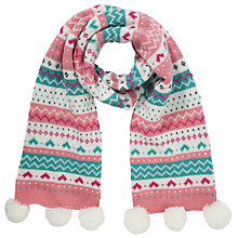 Buy John Lewis Girl Pretty Fair Isle Scarf, Pink Online at johnlewis.com